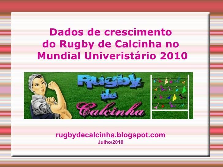 Dados de crescimento  do Rugby de Calcinha no  Mundial Univeristário 2010 rugbydecalcinha.blogspot.com Julho/2010