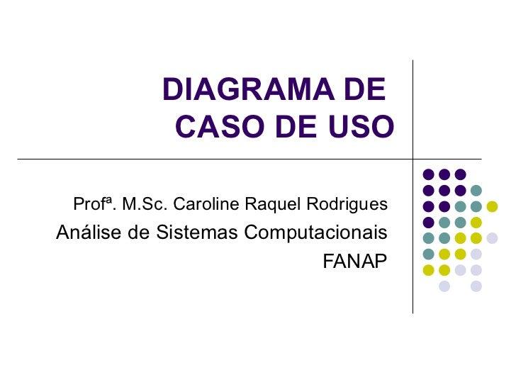 DIAGRAMA DE  CASO DE USO Profª. M.Sc. Caroline Raquel Rodrigues Análise de Sistemas Computacionais FANAP