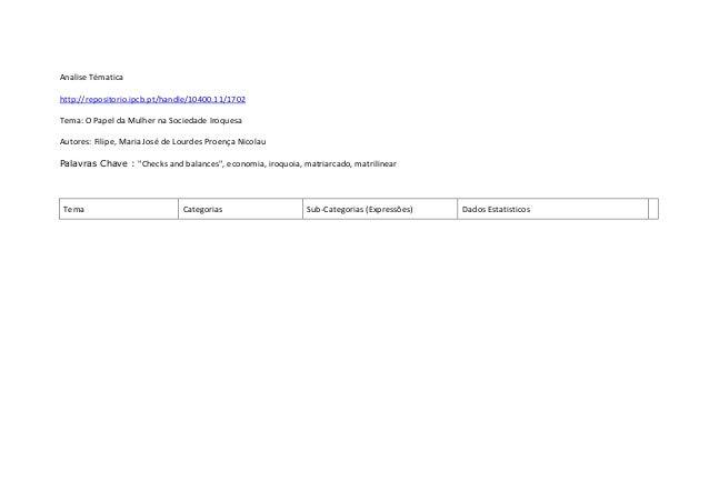 Analise Tématicahttp://repositorio.ipcb.pt/handle/10400.11/1702Tema: O Papel da Mulher na Sociedade IroquesaAutores: Filip...