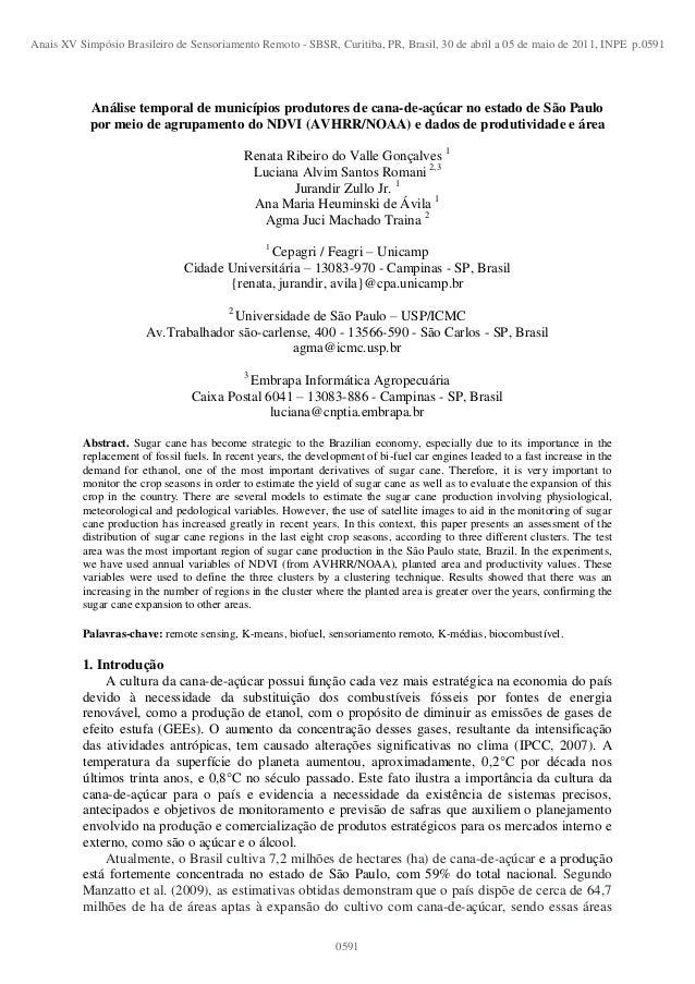 Análise temporal de municípios produtores de cana-de-açúcar no estado de São Paulopor meio de agrupamento do NDVI (AVHRR/N...