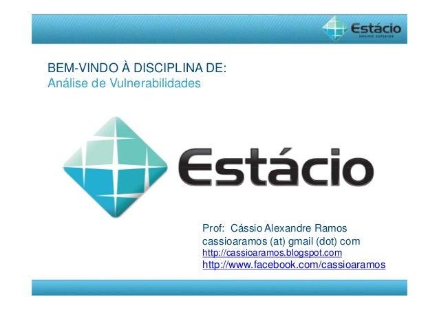 Prof: Cássio Alexandre Ramos  cassioaramos (at) gmail (dot) com  http://cassioaramos.blogspot.com  http://www.facebook.com...