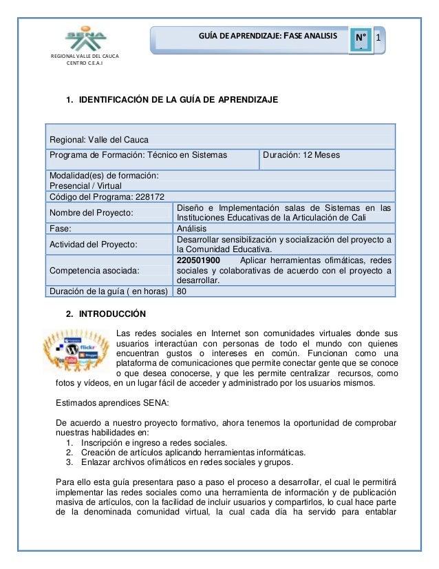 GUÍA DE APRENDIZAJE: FASE ANALISIS REGIONAL VALLE DEL CAUCA CENTRO C.E.A.I  N° 1 1  1. IDENTIFICACIÓN DE LA GUÍA DE APREND...
