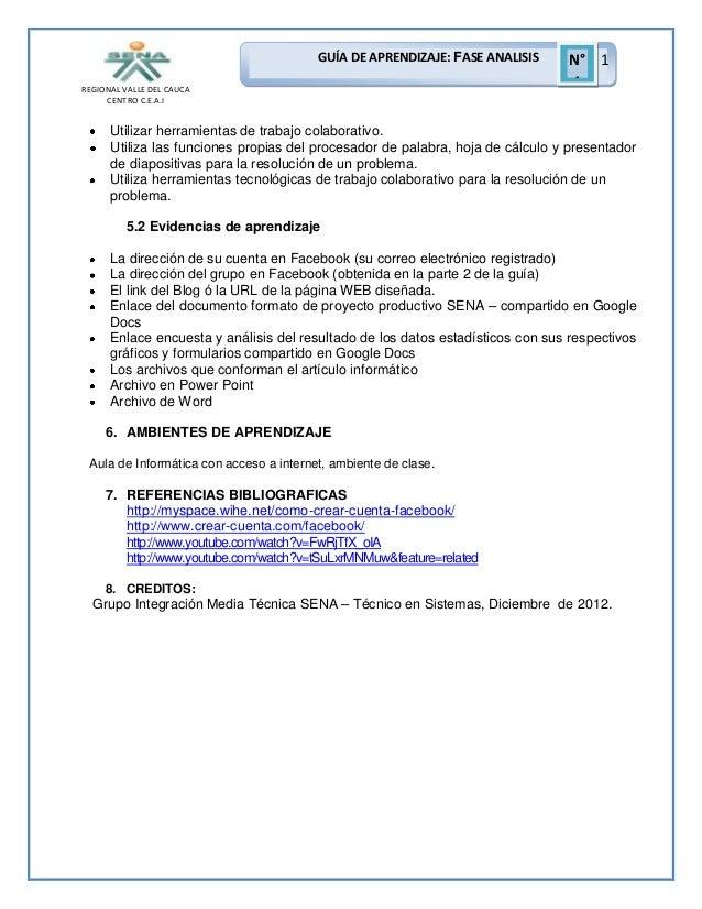 GUÍA DE APRENDIZAJE: FASE ANALISIS REGIONAL VALLE DEL CAUCA CENTRO C.E.A.I  N° 1 1  Utilizar herramientas de trabajo colab...