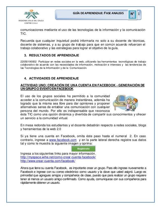 GUÍA DE APRENDIZAJE: FASE ANALISIS REGIONAL VALLE DEL CAUCA CENTRO C.E.A.I  N° 1 1  comunicaciones mediante el uso de las ...