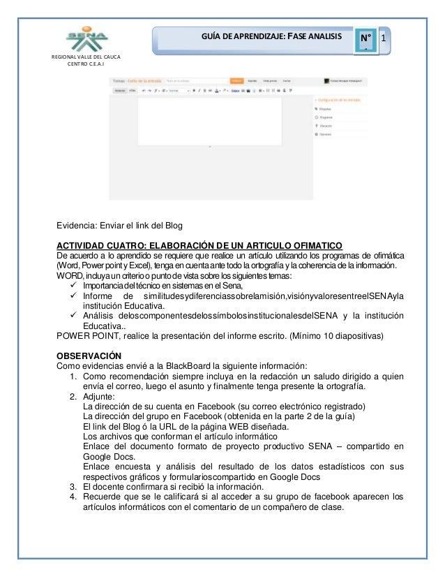GUÍA DE APRENDIZAJE: FASE ANALISIS REGIONAL VALLE DEL CAUCA CENTRO C.E.A.I  N° 1 1  Evidencia: Enviar el link del Blog ACT...