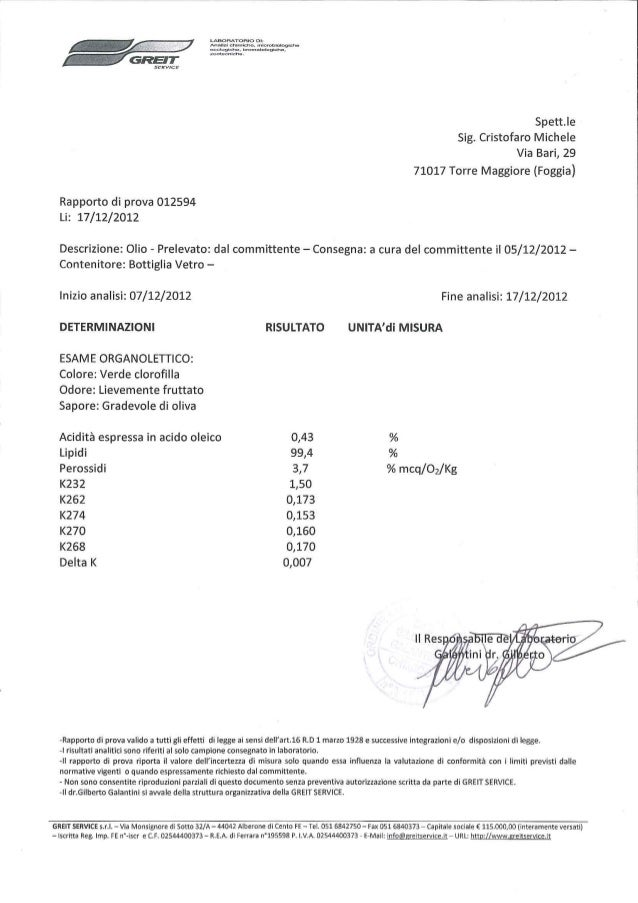 Olio extra vergine di qualità: analisi organolettica Olio Cristofaro