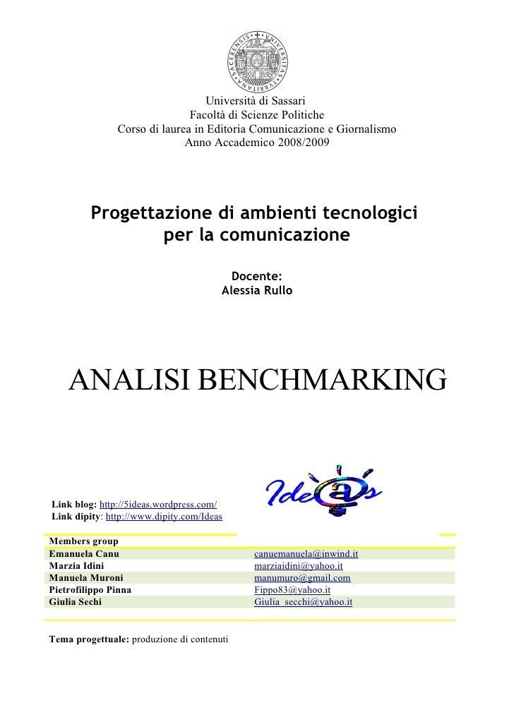 Università di Sassari                               Facoltà di Scienze Politiche                Corso di laurea in Editori...