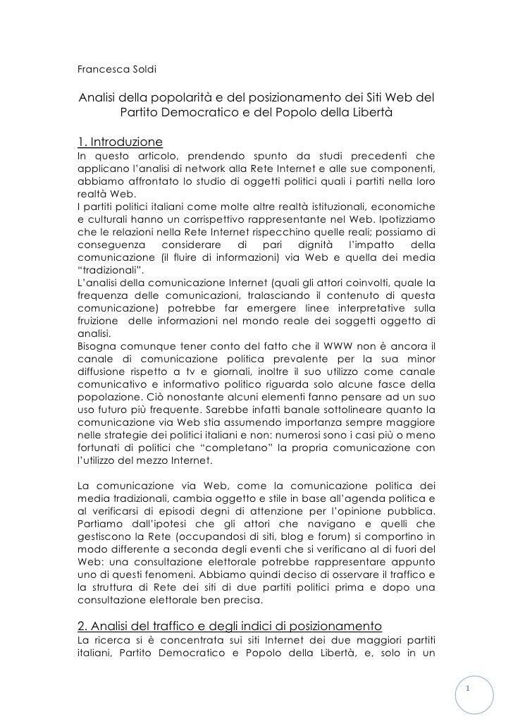 Francesca Soldi  Analisi della popolarità e del posizionamento dei Siti Web del         Partito Democratico e del Popolo d...