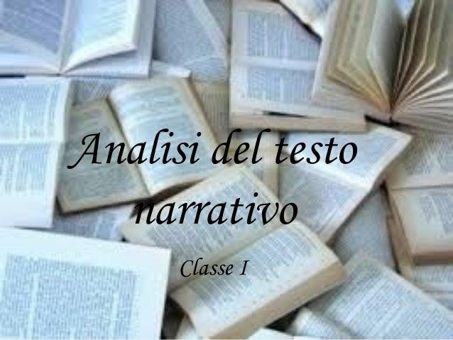 Analisi del testo narrativo Classe I