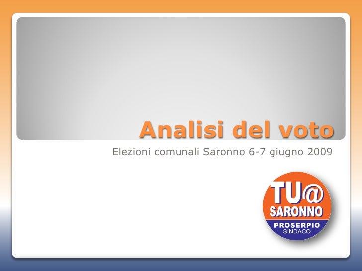 Analisi del voto Elezioni comunali Saronno 6-7 giugno 2009