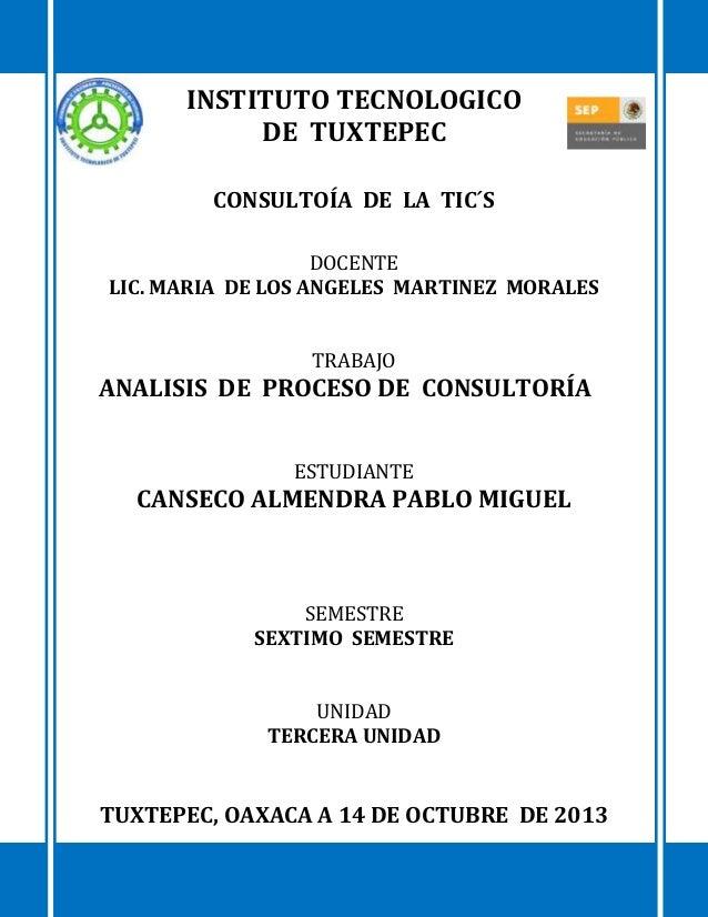 INSTITUTO TECNOLOGICO DE TUXTEPEC CONSULTOÍA DE LA TIC´S DOCENTE LIC. MARIA DE LOS ANGELES MARTINEZ MORALES TRABAJO  ANALI...
