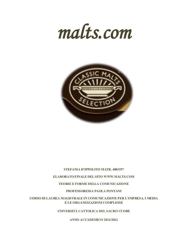 malts.com                 STEFANIA D'IPPOLITO MATR. 4003197            ELABORATO FINALE DEL SITO WWW.MALTS.COM            ...