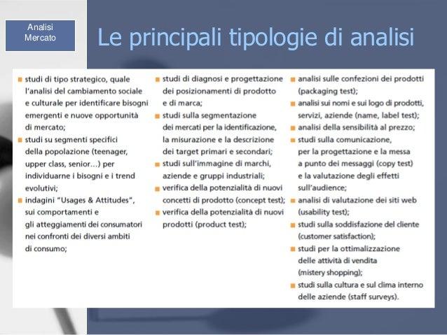 Le principali tipologie di analisi Analisi Mercato