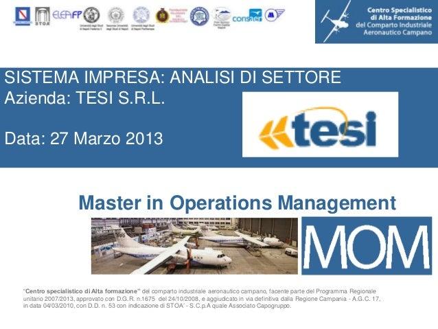 SISTEMA IMPRESA: ANALISI DI SETTOREAzienda: TESI S.R.L.Data: 27 Marzo 2013                      Master in Operations Manag...