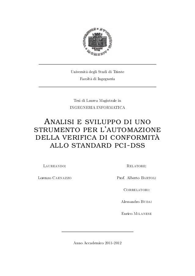 Università degli Studi di Trieste                      Facoltà di Ingegneria                   Tesi di Laurea Magistrale i...