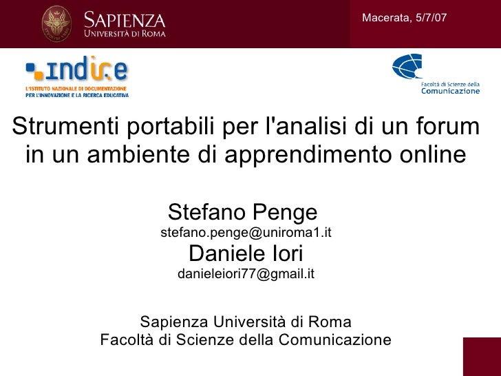 Macerata, 5/7/07Strumenti portabili per lanalisi di un forum in un ambiente di apprendimento online                Stefano...