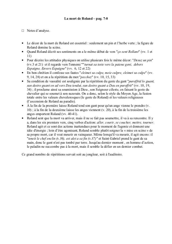 La mort de Roland – pag. 7-8□ Notes d'analyse.•   Le décor de la mort de Roland est essentiel : seulement un pin et l'herb...