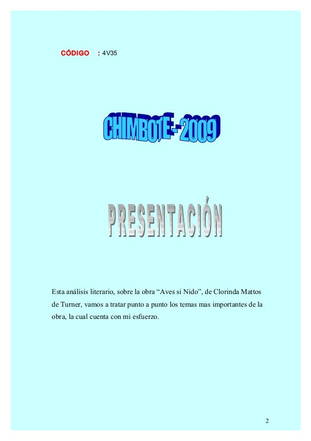 Analisis Literario de Aves Sin Nido Slide 2
