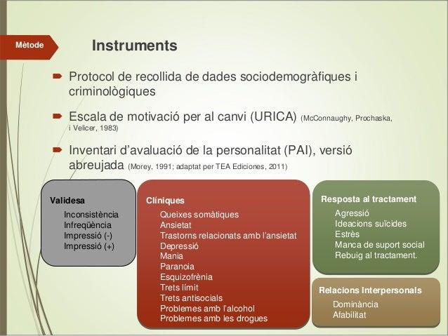 Instruments  Mètode  Protocol de recollida de dades sociodemogràfiques i criminològiques Escala de motivació per al canvi ...