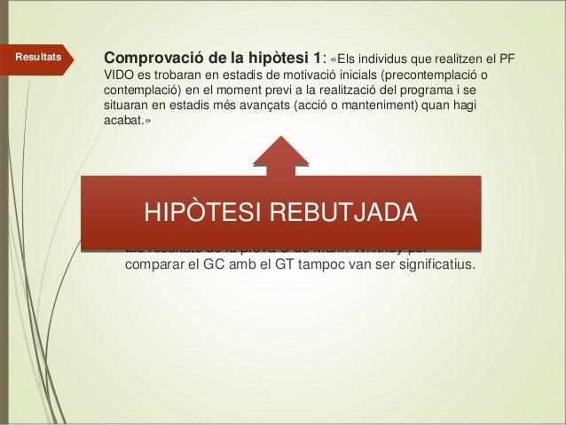 Resultats  Comprovació de la hipòtesi 1: «Els individus que realitzen el PF VIDO es trobaran en estadis de motivació inici...
