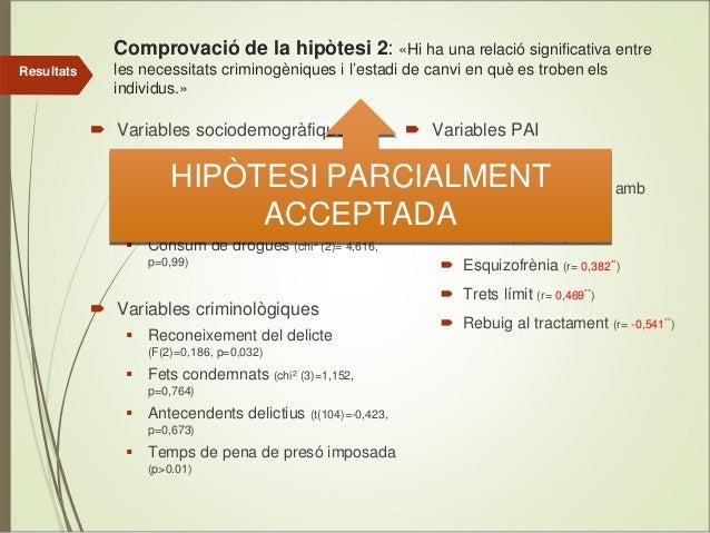 Comprovació de la hipòtesi 2: «Hi ha una relació significativa entre Resultats  les necessitats criminogèniques i l'estadi...