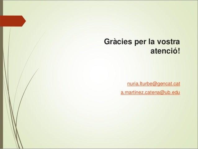 Gràcies per la vostra atenció!  nuria.Iturbe@gencat.cat a.martinez.catena@ub.edu