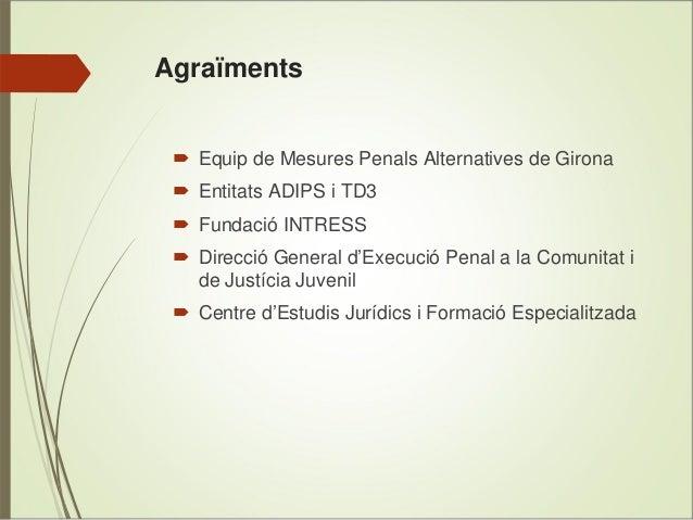 Agraïments  Equip de Mesures Penals Alternatives de Girona Entitats ADIPS i TD3 Fundació INTRESS Direcció General d'Execuc...
