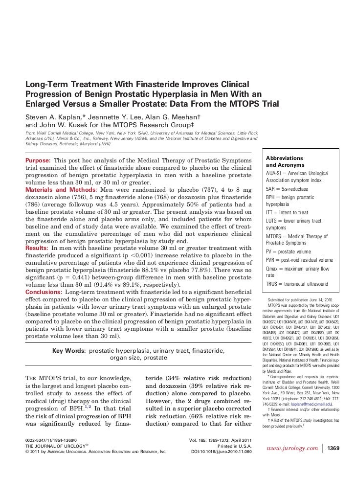 Long-Term Treatment With Finasteride Improves ClinicalProgression of Benign Prostatic Hyperplasia in Men With anEnlarged V...