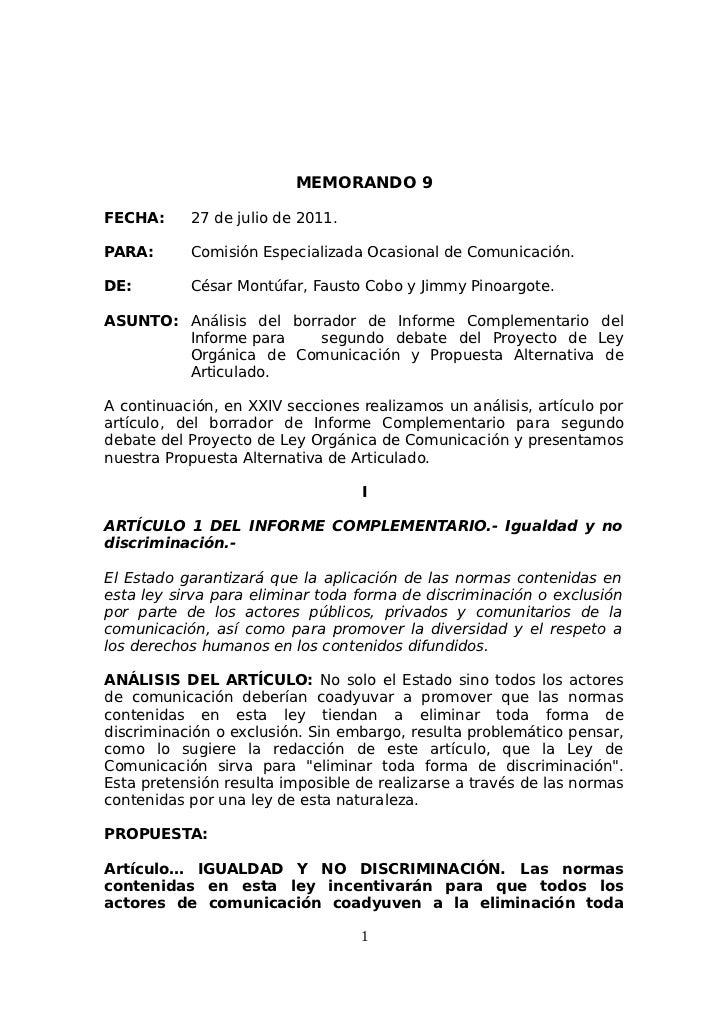 MEMORANDO 9FECHA:     27 de julio de 2011.PARA:      Comisión Especializada Ocasional de Comunicación.DE:        César Mon...
