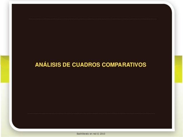 ANÁLISIS DE CUADROS COMPARATIVOS