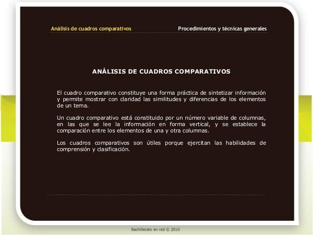 Análisis de cuadros comparativos              Procedimientos y técnicas generales                ANÁLISIS DE CUADROS COMPA...