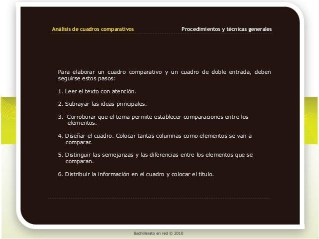 Análisis de cuadros comparativos                   Procedimientos y técnicas generales  Para elaborar un cuadro comparativ...