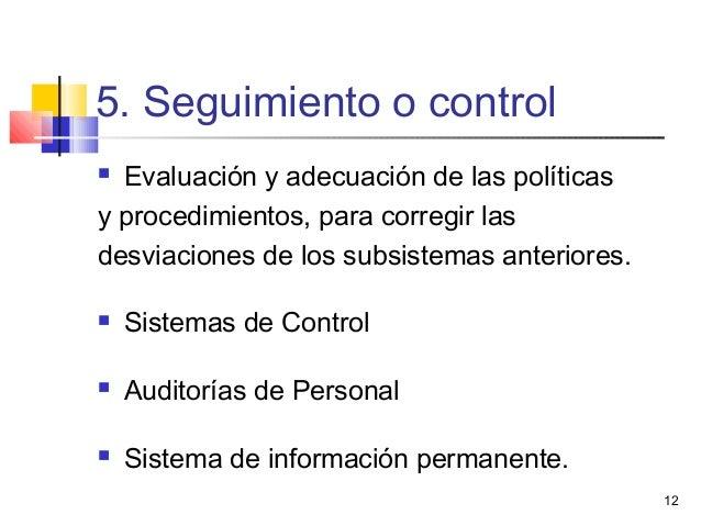 12 5. Seguimiento o control  Evaluación y adecuación de las políticas y procedimientos, para corregir las desviaciones de...