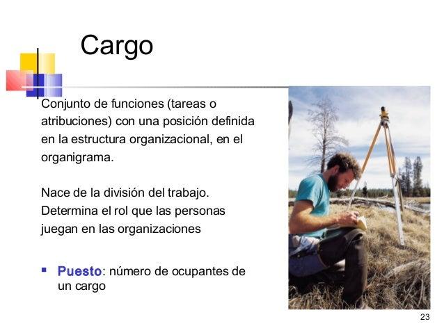 23 Cargo Conjunto de funciones (tareas o atribuciones) con una posición definida en la estructura organizacional, en el or...