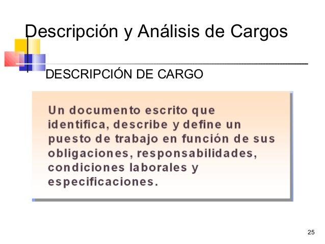 25 Descripción y Análisis de Cargos DESCRIPCIÓN DE CARGO