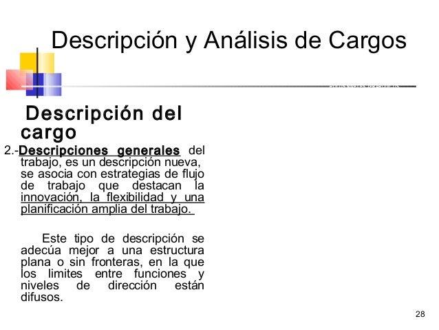 28 Descripción y Análisis de Cargos Descripción del cargo 2.-Descripciones generales del trabajo, es un descripción nueva,...