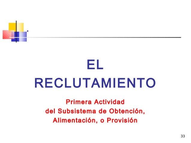 33 . EL RECLUTAMIENTO Primera Actividad del Subsistema de Obtención, Alimentación, o Provisión