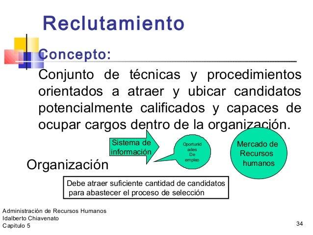 34 Reclutamiento Concepto: Conjunto de técnicas y procedimientos orientados a atraer y ubicar candidatos potencialmente ca...