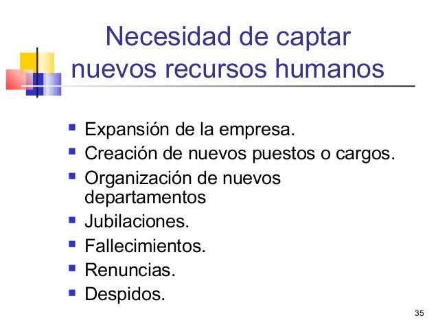 35 Necesidad de captar nuevos recursos humanos  Expansión de la empresa.  Creación de nuevos puestos o cargos.  Organiz...