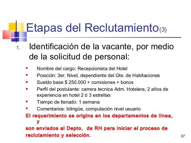 37 Etapas del Reclutamiento(3) 1. Identificación de la vacante, por medio de la solicitud de personal:  Nombre del cargo:...