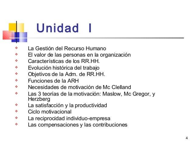 4 Unidad I  La Gestión del Recurso Humano  El valor de las personas en la organización  Características de los RR.HH. ...