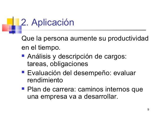 9 2. Aplicación Que la persona aumente su productividad en el tiempo.  Análisis y descripción de cargos: tareas, obligaci...