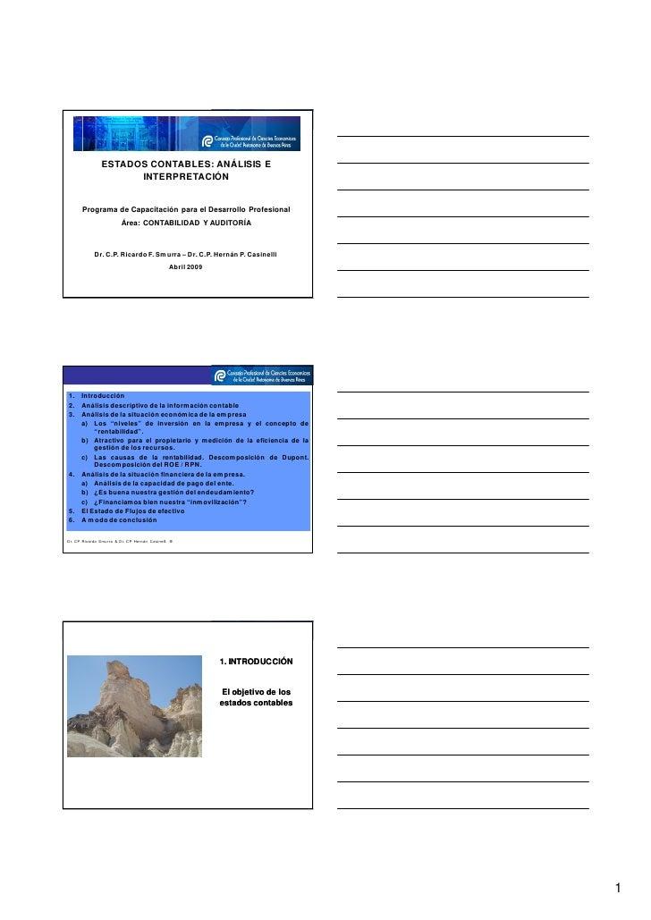 ESTADOS CONTABLES: ANÁLISIS E                      INTERPRETACIÓN         Programa de Capacitación para el Desarrollo Prof...