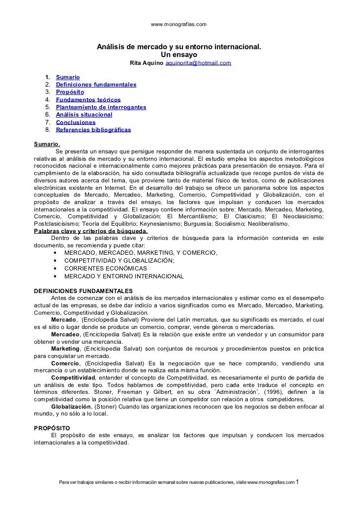www.monografias.com                          Análisis de mercado y su entorno internacional.                              ...