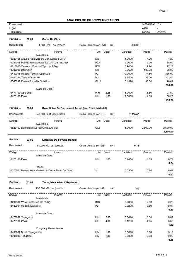 Analisis unitarios estructura for Precio metro cubico hormigon