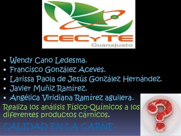  Wendy Cano Ledesma.  Francisco González Aceves.  Larissa Paola de Jesús González Hernández.  Javier Muñiz Ramírez.  ...