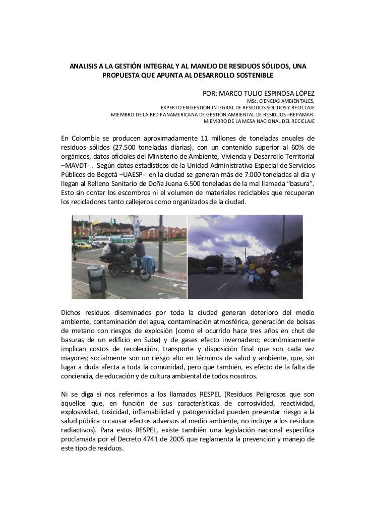 ANALISIS A LA GESTIÓN INTEGRAL Y AL MANEJO DE RESIDUOS SÓLIDOS, UNA            PROPUESTA QUE APUNTA AL DESARROLLO SOSTENIB...