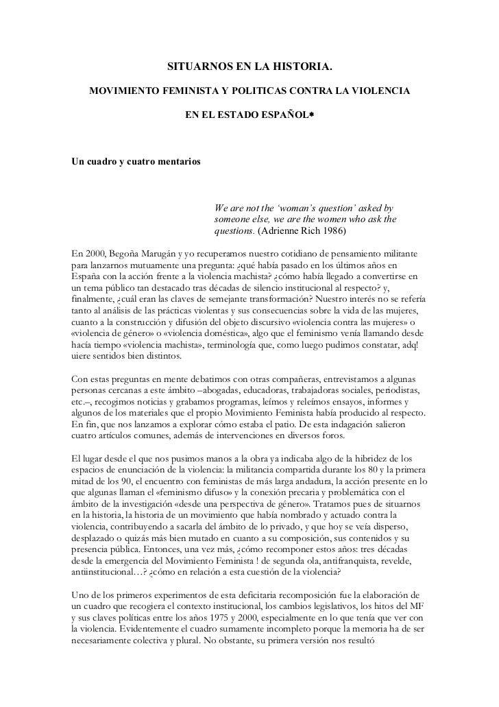SITUARNOS EN LA HISTORIA.    MOVIMIENTO FEMINISTA Y POLITICAS CONTRA LA VIOLENCIA                              EN EL ESTAD...