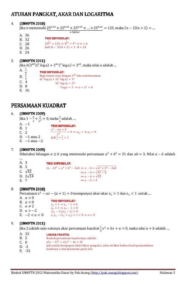 Blog Pendidikan Contoh Soal Matematika Dasar
