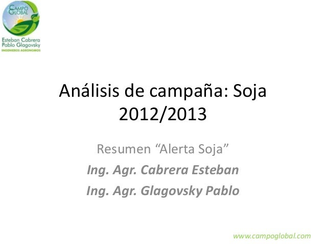 "Análisis de campaña: Soja 2012/2013 Resumen ""Alerta Soja"" Ing. Agr. Cabrera Esteban Ing. Agr. Glagovsky Pablo www.campoglo..."